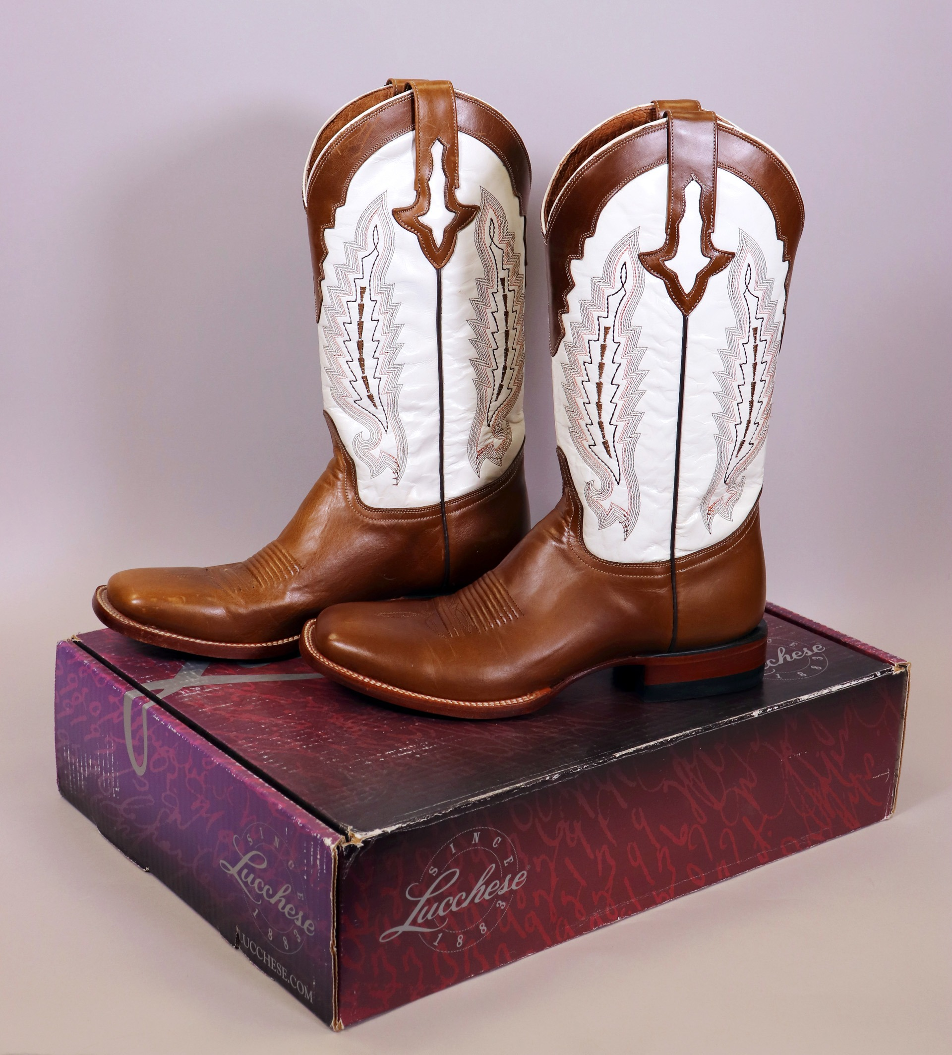 Lucchese Men's White Square Toe Boots