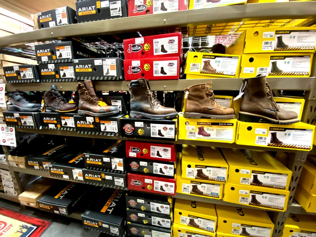 Work boot choices, there are so many at Lakeside Country Store